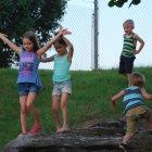 Children having fun at Nashville Riffs Food Truck Jam at Main Event Parking Lot Nashville Tennessee